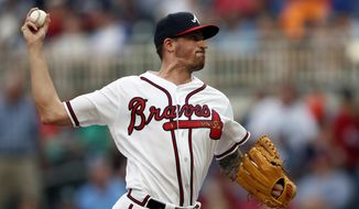 Atlanta Braves starting pitcher Kevin Gausman works in the first inning of a baseball game against the Milwaukee Brewers, Friday, Aug. 10, 2018, in Atlanta. (AP Photo/John Bazemore)
