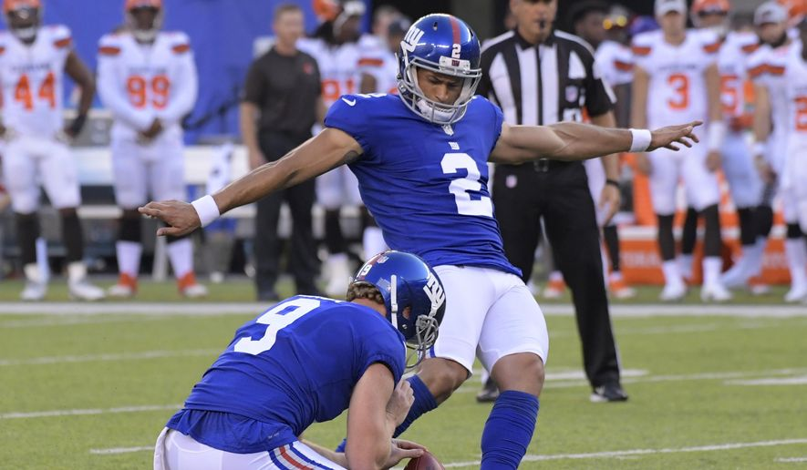 New York Giants kicker Aldrick Rosas (2) kicks a field goal during the first half of a preseason NFL football game against the Cleveland Browns, Thursday, Aug. 9, 2018, in East Rutherford, N.J. (AP Photo/Bill Kostroun)