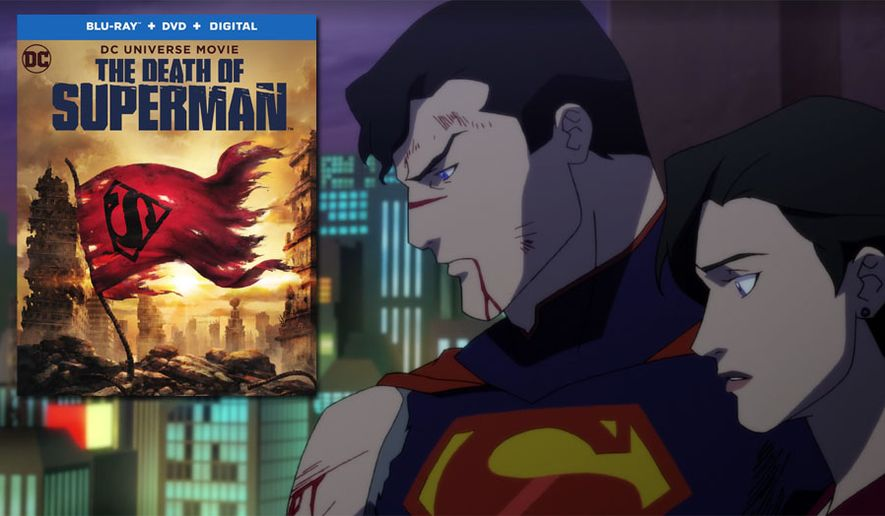 """Lois Lane and a bloodied Man of Steel in """"The Death of Superman,"""" now available on Blu-ray from Warner Bros. Home Entertainment."""