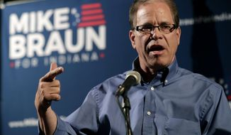 FILE - This May 8, 2018 file photo Republican Senate candidate Mike Braun thanks supporters after winning the republican primary in Whitestown, Ind. Braun rails against foreign outsourcing on the campaign trail, even as his own company continues to sell its trademarked brand of auto accessories, many of which are made in China. Braun frequently criticizes his opponent, vulnerable red-state Democratic Sen. Joe Donnelly, for once owning stock in a family business his brother runs that operates a factory in Mexico. However, the Republican nominee's own parts brand, Promaxx Automotive, sells products that were similarly manufactured abroad, according to a review by The Associated Press. (AP Photo/Michael Conroy, File)
