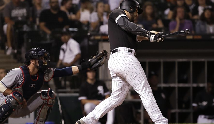 Chicago White Sox's Daniel Palka hits a home run against the Cleveland Indians during the ninth inning of a baseball game Friday, Aug. 10, 2018, in Chicago. The White Sox won 1-0. (AP Photo/Nam Y. Huh)