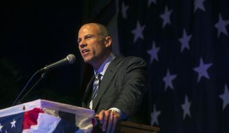 Michael Avenatti speaks at the Iowa Democratic Wing Ding at the Surf Ballroom in Clear Lake, Iowa, Friday, Aug. 10, 2018. Avenatti, the self-styled provocateur taking on the president on behalf of porn actress Stormy Daniels, has a message for Iowa Democrats: His foray into presidential politics is no stunt. (Chris Zoeller/Globe-Gazette via AP) ** FILE **