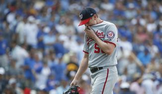 Washington Nationals starting pitcher Jeremy Hellickson leaves a baseball game against the Chicago Cubs during the sixth inning Friday, Aug. 10, 2018, in Chicago. (AP Photo/Kamil Krzaczynski) **FILE**