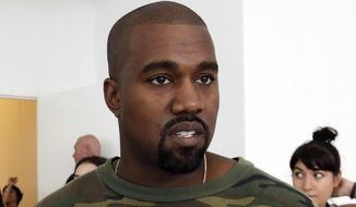 In this Sept. 10, 2015, file photo, Kanye West appears at the Brother Vellies Spring 2016 collection presentation during Fashion Week, in New York. (AP Photo/Richard Drew, File)