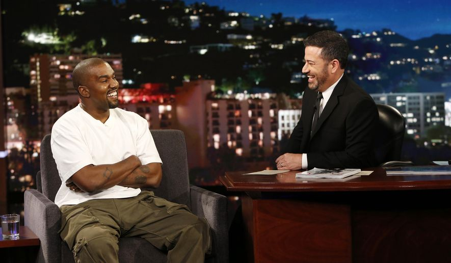 "In this image released by ABC, musician Kanye west, left, and host Jimmy Kimmel appear on the set of  ""Jimmy Kimmel Live!"" in Los Angeles. West appeared on Thursday, Aug. 10, 2018 and discussed his support for Trump. He did not answer when Kimmel asked if the rapper thought Trump cares about black people, or any people at all. (Randy Holmes/ABC via AP)"