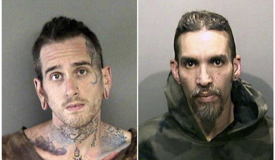 FILE- This combination of file June 2017 booking photos released by the Alameda County Sheriff's Office shows Max Harris, left, and Derick Almena, at Santa Rita Jail in Alameda County, Calif. The two men, who accepted a deal in exchange for each pleading no contest to 36 counts of involuntary manslaughter in a California warehouse fire, will likely be released from prison after serving just half their sentences. A judge on Friday, Aug. 10, 2018, is expected to sentence Almena to nine years in prison and Harris to six years, even though relatives of victims of the 2016 blaze in Oakland slammed the proposed sentences as too lenient. (Alameda County Sheriff's Office via AP, File)