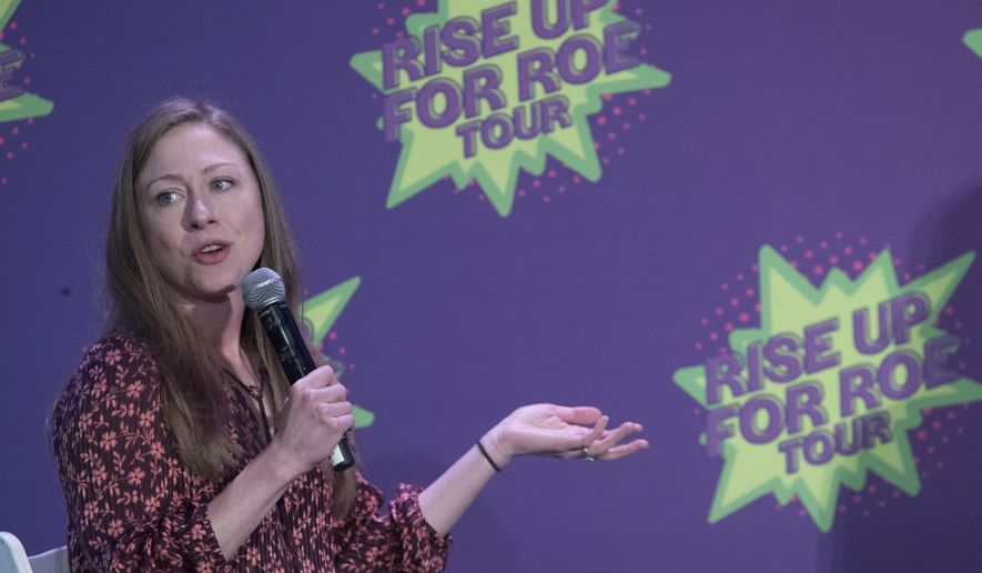 Chelsea Clinton speaks during the Rise Up For Roe national tour, Saturday, Aug. 11, 2018, in New York. (AP Photo/Mary Altaffer) **FILE**