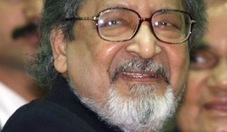 FILE - In this Feb. 18, 2002 file photo Nobel laureate V.S. Naipaul attends an International Festival of Indian Literature in New Delhi, India. The family of the Trinidad-born British author says the Nobel Literature laureate has died at the age of 85. The family said in a statement late Saturday, Aug. 11, 2018,  that the novelist had died at his London home. (AP Photo/John McConnico, File)