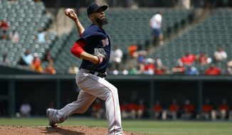 Boston Red Sox starting pitcher David Price throws to the Baltimore Orioles in the first inning of the first baseball game of a doubleheader, Saturday, Aug. 11, 2018, in Baltimore. (AP Photo/Patrick Semansky)