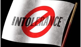 Illustration on intolerance by Alexander Hunter/The Washington Times