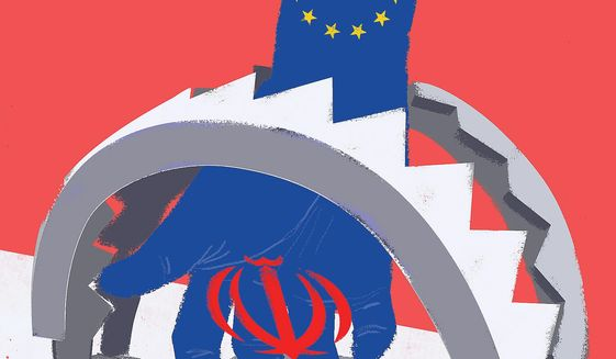 Illustration on the EU's sanction ploy by Linas Garsys/The Washington Times
