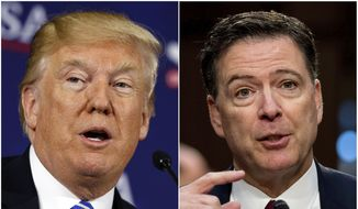This combination photo shows President Donald Trump speaking during a roundtable discussion on tax policy in White Sulphur Springs, W.Va., on April 5, 2018, left, and former FBI Director James Comey speaking during a Senate Intelligence Committee hearing on Capitol Hill in Washington on June 8, 2017.  (AP Photo/Evan Vucci, left, and Andrew Harnik) ** FILE* *