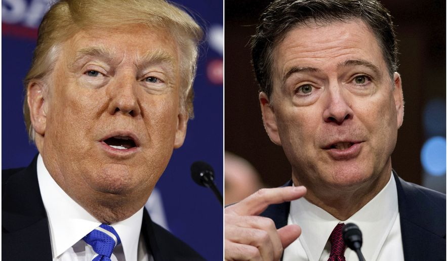 """This combination photo shows President Donald Trump speaking during a roundtable discussion on tax policy in White Sulphur Springs, W.Va., on April 5, 2018, left, and former FBI director James Comey speaking during a Senate Intelligence Committee hearing on Capitol Hill in Washington on June 8, 2017. Trump fired off a series of tweets ahead of Comey's first interview on his book, """"A Higher Loyalty: Truth, Lies, and Leadership,"""" which offers his version of the events surrounding his firing as FBI director by Trump. The interview will air Sunday night on ABC. (AP Photo/Evan Vucci, left, and Andrew Harnik)"""