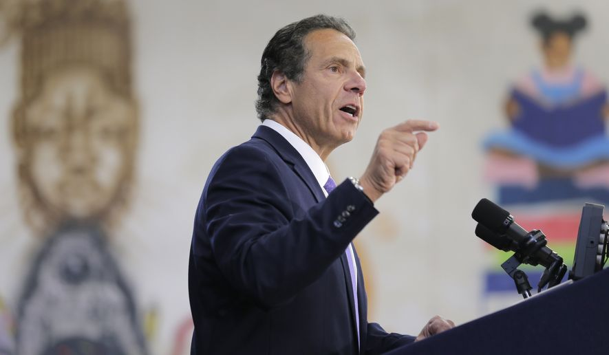 In this  July 5, 2018, file photo, New York Gov. Andrew Cuomo speaks at an event in the Brownsville section of Brooklyn in New York. (AP Photo/Seth Wenig, File)
