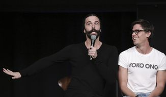"Jonathan Van Ness, left, and Antoni Porowski attend a Special Event with ""Queer Eye"" at NeueHouse Hollywood on Sunday, Aug. 12, 2018, in Los Angeles. (Photo by Richard Shotwell/Invision/AP)"