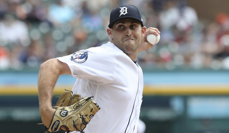 Detroit Tigers starting pitcher Matthew Boyd throws during the first inning of a baseball game against the Minnesota Twins, Sunday, Aug. 12, 2018, in Detroit. (AP Photo/Carlos Osorio)