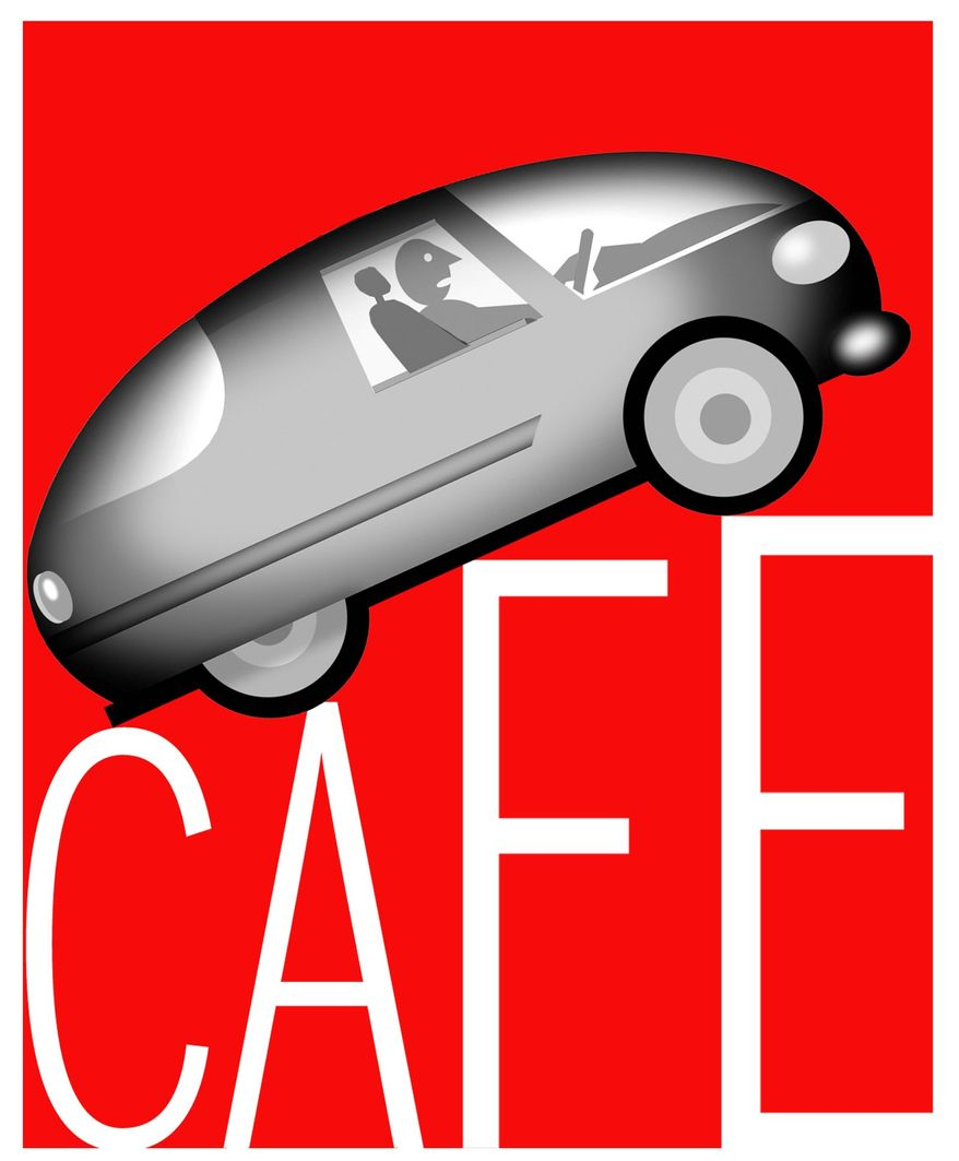 Illustration on the adverse effects of CAFE standards by Alexander Hunter/The Washington Times