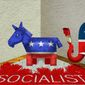 Illustration on the socialist label in American politics by Alexander Hunter/The Washington Times