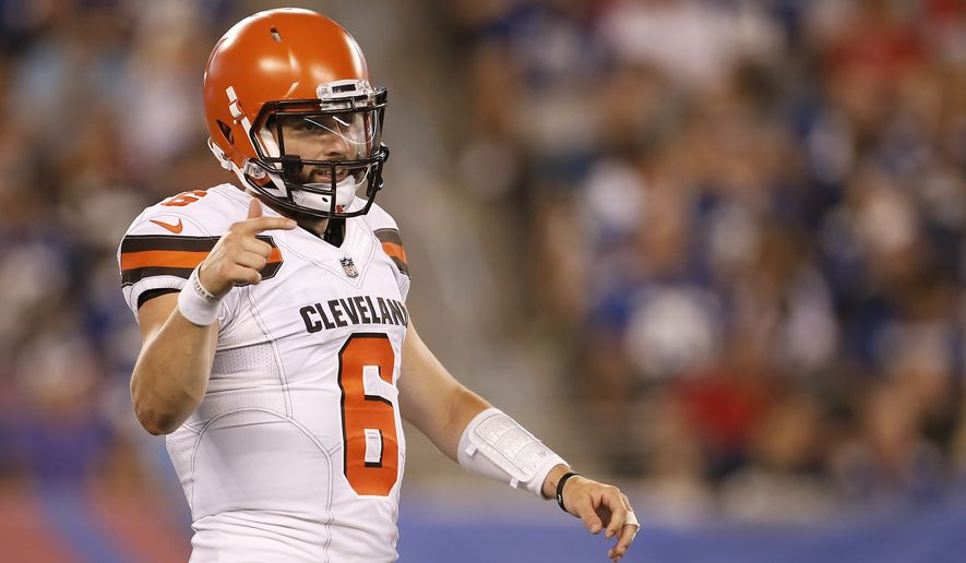 Cleveland Browns quarterback Baker Mayfield (6) in action during a preseason NFL football game against the New York Giants on Thursday, Aug. 9, 2018, in East Rutherford, N.J. (AP Photo/Adam Hunger)