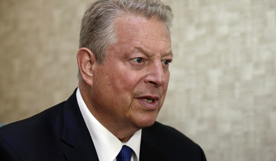 Former Vice President Al Gore speaks during an interview in Greensboro, N.C., Monday, Aug. 13, 2018. Gore is in North Carolina to speak on behalf of the Poor People's Campaign, including an event Monday night in Greensboro. (AP Photo/Gerry Broome)