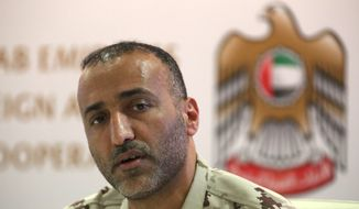 Emirati Brig. Gen. Musallam al-Rashedi speaks to journalists during a news conference regarding Yemen in Dubai, United Arab Emirates, Monday, Aug. 13, 2018. The United Arab Emirates on Monday described itself as actively fighting al-Qaida's branch in Yemen after an Associated Press report outlined how Emirati forces cut secret deals with the militants to get them to abandon territory. (AP Photo/Jon Gambrell)