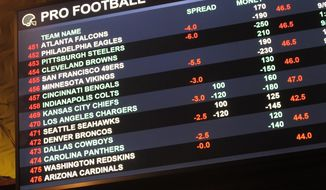 This Aug. 1 2018 photo shows a board at Harrah's casino in Atlantic City, N.J., listing the odds on pro football games in the first week of the NFL season. Resorts casino will begin taking sports bets in person on Wednesday, Aug. 15, becoming the fifth Atlantic City casino to do so. (AP Photo/Wayne Parry) ** FILE **
