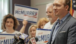 In this Aug. 9, 2018 photo, provided by Nate McMurray for Congress, Nate McMurray, the Democrat who is running in the 27th Congressional District, speaks to supporters in Rochester, N.Y., the day after his opponent, U.S. Rep. Christopher Collins, R-N.Y., was arrested on insider trading charges. On Saturday, Aug. 11, 2018, Collins said he would end his re-election bid, while McMurray called on Collins to resign. (Nate McMurray for Congress via AP)