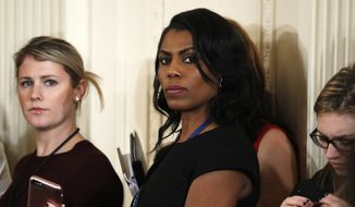 "In this Feb. 13, 2017, file photo, White House Director of communications for the Office of Public Liaison Omarosa Manigault waits for the start of a joint news conference with President Donald Trump and Canadian Prime Minister Justin Trudeau at the White House in Washington. Manigault Newman, who was fired in December, released a new book ""Unhinged,"" about her time in the White House. (AP Photo/Pablo Martinez Monsivais, File)"