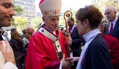 """Cardinal Donald W. Wuerl, Archbishop of Washington shaking hands with churchgoers at St. Mathews Cathedral after the Red Mass in Washington on Oct. 1, 2017. In 1993, Cardinal Wuerl, then bishop of the Diocese of Pittsburgh, coined the term """"circle of secrecy"""" to describe the methods in place to protect accused members of the church, according to the report. (Associated Press)"""