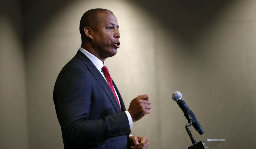 Maryland athletic director Damon Evans speaks at a news conference held to address the school's football program and the death of a player who collapsed on a practice field, Tuesday, Aug. 14, 2018, in College Park, Md. (AP Photo/Patrick Semansky) ** FILE **