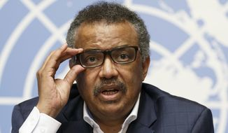 Tedros Adhanom Ghebreyesus, Director General of the World Health Organization (WHO), informs to the media about of update on WHO Ebola operations in the Democratic Republic of the Congo (DRC), during a press conference at the European headquarters of the United Nations in Geneva, Switzerland, Tuesday, August 14, 2018. (Salvatore Di Nolfi/keystone via AP)