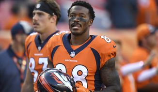 Denver Broncos wide receiver Demaryius Thomas warms up before an NFL football game against the Minnesota Vikings Saturday, Aug. 11, 2018, in Denver. (AP Photo/Mark Reis)