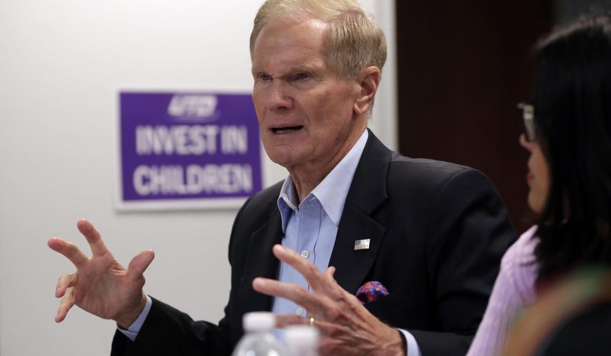 "FILE - In this Aug. 6, 2018 file photo, Sen. Bill Nelson, D-Fla., speaks during a roundtable discussion with education leaders from South Florida at the United Teachers of Dade headquarters in Miami.  Nelson isn't backing down from comments that Russian operatives have penetrated some of his state's election systems ahead of this year's crucial election. Nelson on Monday, Aug. 13,  said that it would be ""foolish to think"" the Russians are not continuing their efforts to target Florida. Russian hackers targeted at least 21 states, including Florida, ahead of the 2016 election. He said criticism of his comments are for ""partisan political purposes."" (AP Photo/Lynne Sladky, File)"