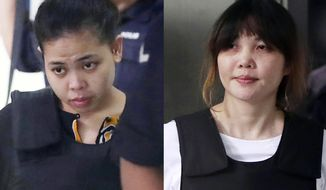 FILE - This combination of the Oct. 2, 2017 file photos shows Indonesian Siti Aisyah, left, and Vietnamese Doan Thi Huong, right, escorted by police as they leave a court hearing in Shah Alam, Malaysia, outside Kuala Lumpur. Two Southeast Asian women on trial in Malaysia for the brazen assassination of the North Korean leader's half-brother could be acquitted Thursday, Aug. 16, 2018, or called to enter their defense in a case that has gripped the world. The two are accused of smearing VX nerve agent on Kim Jong Nam's face in a crowded airport terminal in Kuala Lumpur on Feb. 13, 2017. The women have said they thought they were taking part in a prank for a hidden-camera show. (AP Photo/Daniel Chan, File)