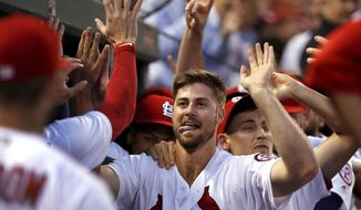 St. Louis Cardinals' John Gant is congratulated by teammates after hitting a two-run home run during the second inning of a baseball game against the Washington Nationals Tuesday, Aug. 14, 2018, in St. Louis. (AP Photo/Jeff Roberson)