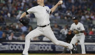 New York Yankees' J.A. Happ delivers a pitch during the first inning of a baseball game against the Tampa Bay Rays Tuesday, Aug. 14, 2018, in New York. (AP Photo/Frank Franklin II)