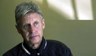 FILE - This Oct. 10, 2016 file photo taken from a video screen grab shows then-Libertarian presidential candidate and former New Mexico Gov. Gary Johnson being interviewed in Santa Fe, N.M. Former Libertarian presidential candidate Gary Johnson is campaigning to unseat New Mexico's junior Democratic U.S. senator, seeking political opportunity in the space between Democrats and voters loyal to President Donald Trump. Johnson's name appeared Tuesday, Aug. 14, 2018, on the state's list of Senate candidates. Johnson still holds a vaunted place in New Mexico politics as a former two-term governor. (AP Photo/Russell Contreras, File)