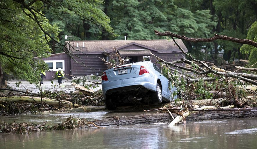 This photo provided by Governor Cuomo's Press Office shows destruction from flooding in the Lodi area of New York on Tuesday, Aug. 14, 2018, shows. (Governor's Press Office/Mike Groll via AP)