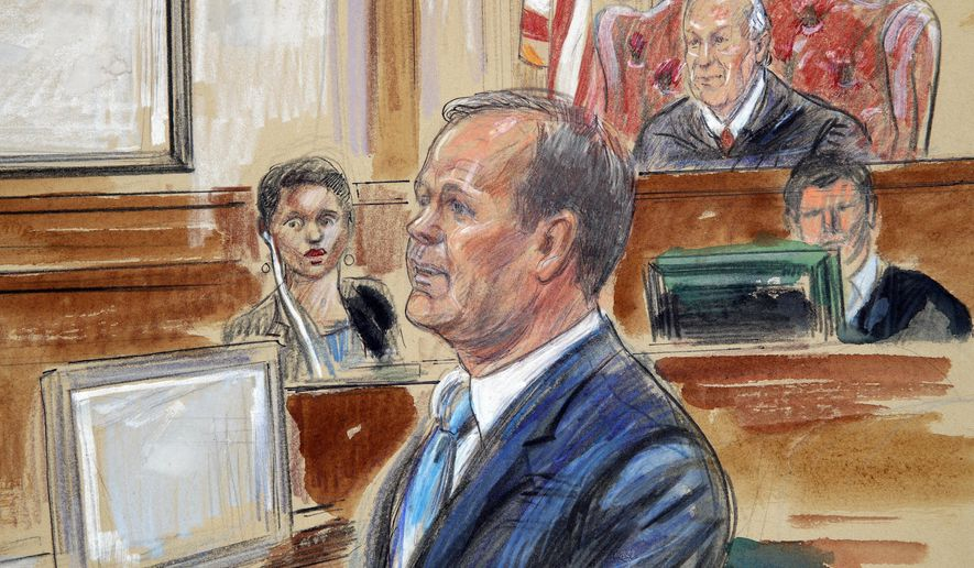 """This Aug. 7, 2018, courtroom sketch depicts Rick Gates, right, testifying during questioning in the bank fraud and tax evasion trial of Paul Manafort at federal court in Alexandria, Va. U.S. district Judge T.S. Ellis III presides at top right. Gates acknowledged that he """"possibly"""" covered personal expenses with Trump inauguration funds at the trial of his former boss Paul Manafort last week. Though Gates definitively admitted to embezzling hundreds of thousands of dollars from Manafort at his old job, Trump's inaugural committee chairman is declining to say how much money Gates may have taken _ or whether any further review of inaugural spending is warranted. (Dana Verkouteren via AP)"""