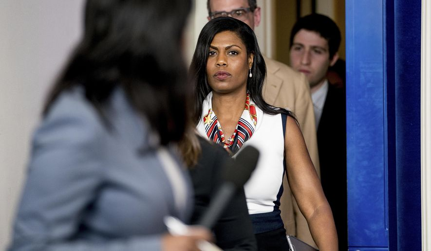 In this May 30, 2017, file photo, White House Director of communications for the Office of Public Liaison Omarosa Manigault Newman arrives for the daily press briefing at the White House in Washington. (AP Photo/Andrew Harnik, File)