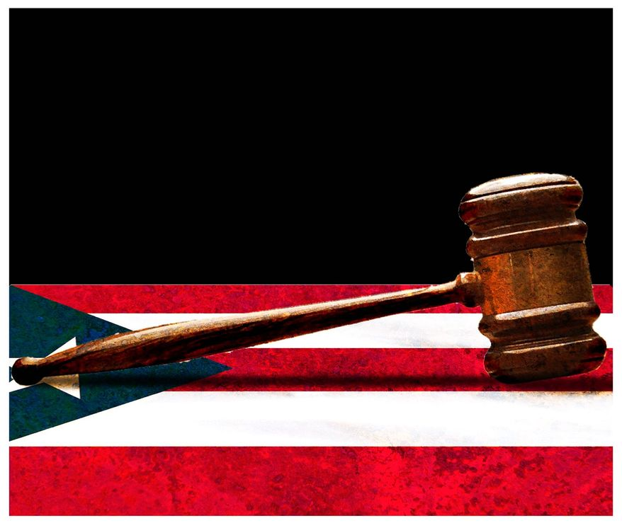 Illustration on judicial decree in Puerto Rico by Alexander Hunter/The Washington Times