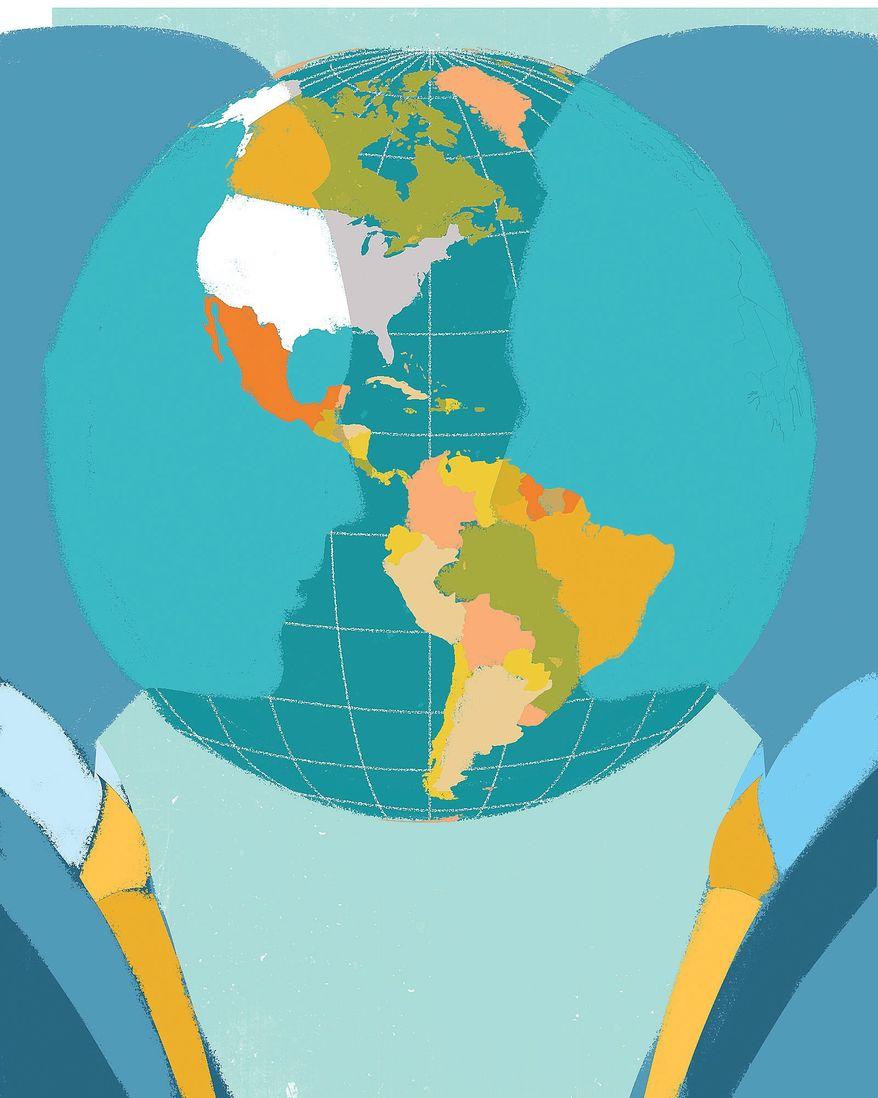 Illustration on modern diplomacy by Linas Garsys/The WAshington Times