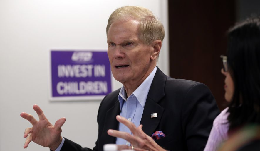 In this Aug. 6, 2018, file photo, Sen. Bill Nelson, D-Fla., speaks during a roundtable discussion with education leaders from South Florida at the United Teachers of Dade headquarters in Miami. (AP Photo/Lynne Sladky, File)