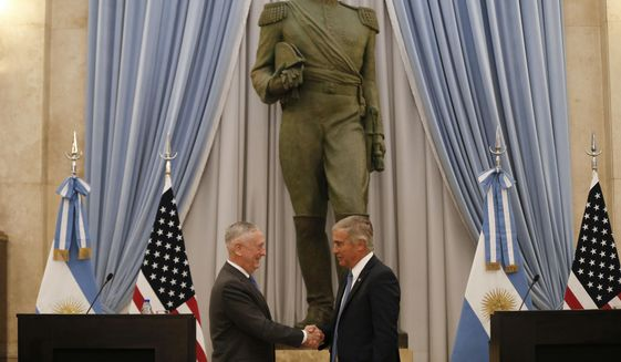 U.S. Secretary of Defense Jim Mattis, left, and Argentina's Defense Minister Oscar Raul Aguad shake hands in Buenos Aires, Argentina Wednesday, Aug. 15, 2018. Mattis is on an official visit to several South American countries. (AP Photo/Natacha Pisarenko)