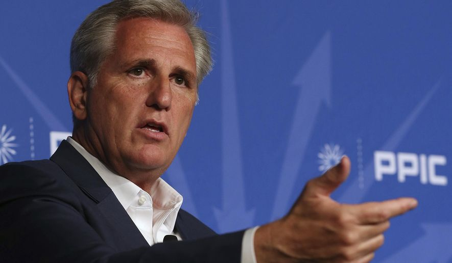 Rep. Kevin McCarthy, R-Calif., answers a question during his appearance with the Public Policy Institute of California, Wednesday, Aug. 15, 2018, in Sacramento, Calif. McCarthy blasted his home state of California as out of touch, hitting its leaders for increasing the gas tax while defending the Trump administration's policies on taxes and tariffs. (AP Photo/Rich Pedroncelli)