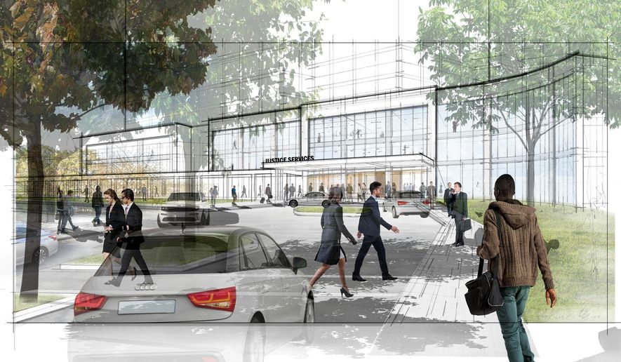 This undated rendering, provided by New York Mayor's Office on Wednesday, Aug. 15, 2018, shows rendering for a jail facility in the Queens borough of New York. City officials released details about their plan to close the Rikers Island jail complex and replace it with smaller neighborhood jails, some of which would also include community spaces, ground-floor retail and affordable housing. (NYC Mayor's Office via AP)