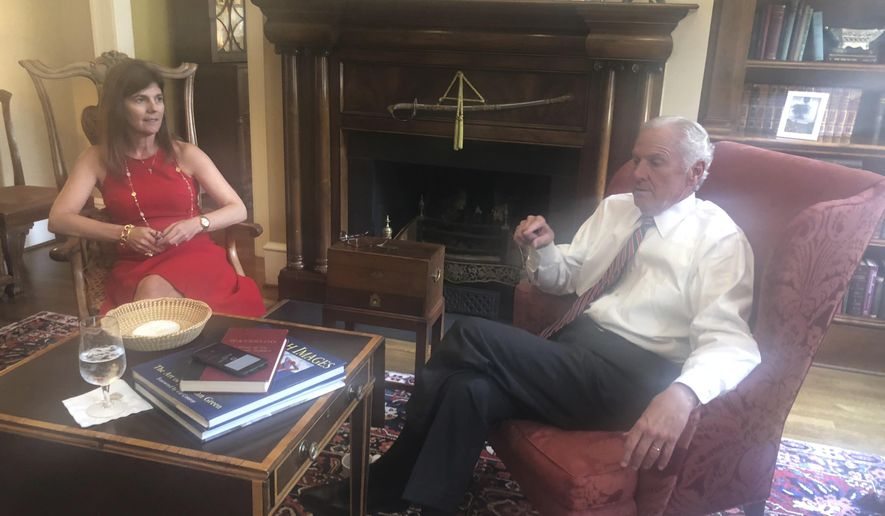 Businesswoman Pamela Evette and South Carolina Gov. Henry McMaster talk about their bid for the state's top two offices, in Wednesday, Aug. 15, 2018. He's been in and around South Carolina's government for decades, but McMaster says that it's the fresh perspective of his running mate, political newcomer Evette, that gives their ticket the unique ability to tackle the state's challenges with experience and new ideas. (AP Photo/Meg Kinnard)