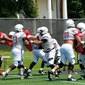 Offensive linemen on the University of Maryland football team practice in College Park, Maryland, on Wednesday, August 15, 2018. (Photo by Adam Zielonka / The Washington Times)