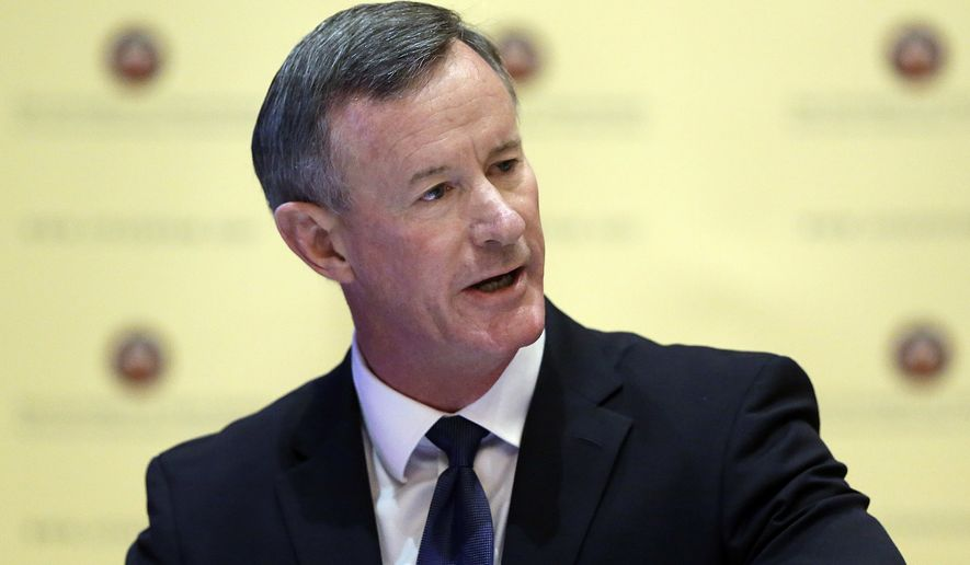 In this Aug. 21, 2014, file photo, U.S. Navy Adm. William McRaven, the next chancellor of the University of Texas System, addresses the Texas Board of Regents, in Austin, Texas. (AP Photo/Eric Gay, File)