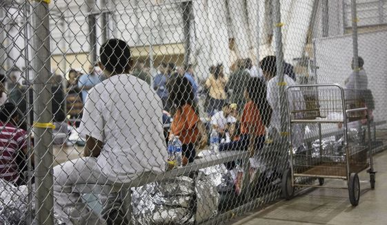 In this June 17, 2018, file photo provided by U.S. Customs and Border Protection, people who've been taken into custody related to cases of illegal entry into the United States, sit in one of the cages at a facility in McAllen, Texas. (U.S. Customs and Border Protection's Rio Grande Valley Sector via AP) ** FILE **